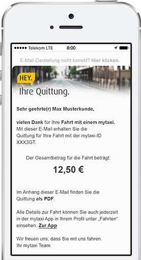 mytaxi rechnung mit der mytaxi app taxifahrten ohne taxi. Black Bedroom Furniture Sets. Home Design Ideas
